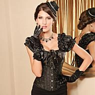 Black Brocade Pattern Gothic Lolita Boned Corset