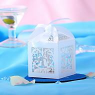perruches blanches creux-out faveur de mariage de conception des boîtes-set de 10