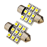 2 kpl festoon 1.5W 31mm 9x3528SMD 100-120LM 6000K Cool White Light LED-lamppu (12V)