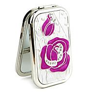 Rose Style Portable Metal rektangel Makeup spejl med Diamond