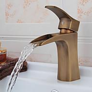 Античная латунь водопад ванной комнате раковина кран