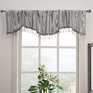 Modern Grey Stripe Scalloped Valance