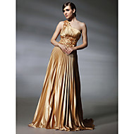 Formal Evening/Military Ball Dress - Gold Plus Sizes A-line/Princess One Shoulder Sweep/Brush Train Stretch Satin