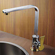 Modern Design Chrome Finish Gold Handle Right Angled Heightening Kitchen Faucet
