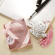 niño feliz acero inoxidable favor marcador con borla de color rosa