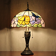 פרפרי מנורת תבנית שולחן, 2 אור, טיפאני זכוכית ציור שרף