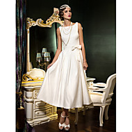 A-line Wedding Dress - Classic & Timeless Elegant & Luxurious Reception Little White Dress Vintage Inspired Open Back Tea-length Bateau