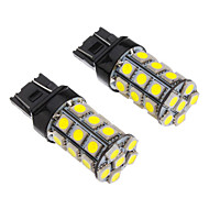 2stk T20 7443 27x5050SMD 100-250LM hvit lys LED pære for bil (12V)