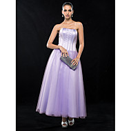 Wedding Party / Cocktail Party / Homecoming Dress - Lavender Plus Sizes / Petite A-line Strapless Ankle-length Satin / Tulle