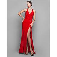 Vestido - Vermelho Baile Militar/Festa Formal Tubo/Coluna Decote em V Cauda Média Georgette Tamanhos Grandes