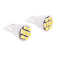 T10 6x3020SMD 30-60LM 6000K Cool White Light LED pære for bil (12V, 2stk)