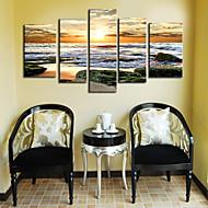 Stretched Canvas Print Art Landscape Roaring Waves Set of 5