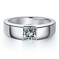 Men's Silver/Sterling Silver/Platinum Plated Ring Diamond Silver/Sterling Silver/Platinum Plated
