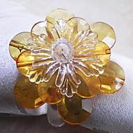 Cristal Poinsettia Rond de Serviette, ensemble de 12, acrylique perles Dia3.5cm