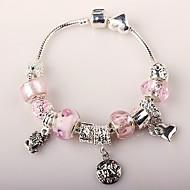 rosa Perlen Charme Armband für Frauen im europäischen Stil handgefertigten Glasperlen Armbänder