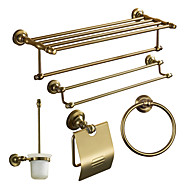 Bath Accessory Set, Antique 5 Piece Anodizing Aluminum Hardware Set