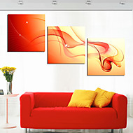 Stretched Canvas Print Art Abstract Red Silk Set of 3