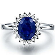 Women's Silver/Sterling Silver/Platinum Plated Ring Sapphire Silver/Sterling Silver/Platinum Plated