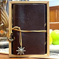 vintage 18x14cm bőr folyóirat minta spirál memo kreatív notebook (véletlenszerű szín)