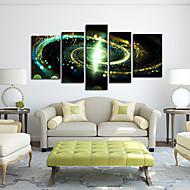 Leinwanddruck Kunst Abstract Green Galaxy Set von 5