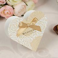 Herzform Geprägte Hochzeit Gunsten Boxen mit Bow - Set von 12