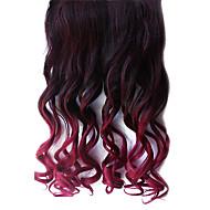 16 pollici clip in sintetico nero e rosso gradiente ondulate estensioni dei capelli con 5 clip