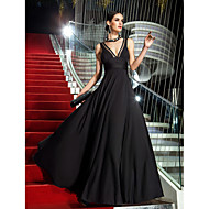 Formal Evening / Military Ball Dress - Plus Size / Petite A-line V-neck Floor-length Jersey