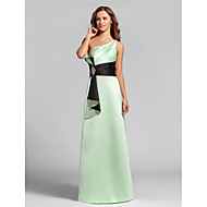 Lanting Floor-length Satin Bridesmaid Dress - Sage Plus Sizes / Petite A-line One Shoulder