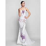 Prom / Formal Evening / Military Ball Dress - Print Plus Sizes / Petite Trumpet/Mermaid Strapless Sweep/Brush Train Chiffon / Lace