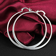 Earring Hoop Earrings Jewelry Women Brass / Silver Plated 2pcs Silver