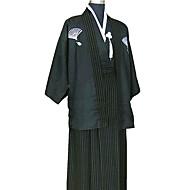 Black Satin Traditional Japanese Samurai Kimono Men's Costume