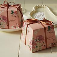 리본과 핑크 로즈 패턴 호의 상자 - 12의 집합