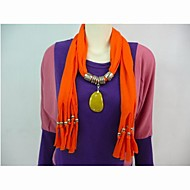 Polyester Cotton Orange Stone Pendant Scarf  Necklace