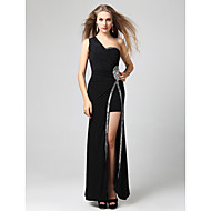 Formal Evening/Military Ball Dress - Black Sheath/Column One Shoulder Floor-length Jersey