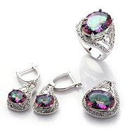 Fashion 925 Silver Plated Copper Rainbow Zirkon Earring Ring og anheng Set