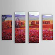 Håndmalt Oljemaleri Landscape Red Field med utstrakte ramme Sett med 4