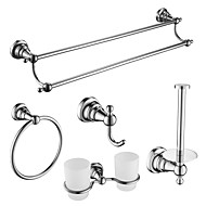 5 Pcs Bathroom Accessory Sets,Zinc Alloy, Stainless Steel, Brass Material Chrome Finish,Bath Accessories