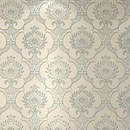 Damast Tapete Für Privatanwender Klassisch Wandverkleidung , Geflockter Samt Stoff Selbstklebend Tapete , Zimmerwandbespannung