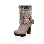 Women's Spring / Fall / Winter Platform / Round Toe / Fashion Boots Leatherette Dress Chunky Heel Buckle / Fur Black / Brown / Beige