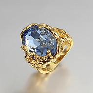Duże pierścionki Pierścionek zaręczynowy Miłość luksusowa biżuteria Cyrkonia Pozłacane 18K złoty Biżuteria Niebieski Biżuteria NaŚlub