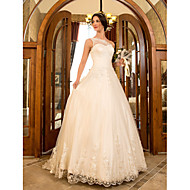 Lanting Bride A-line / Princess Petite / Plus Sizes Wedding Dress-Sweep/Brush Train One Shoulder Lace / Tulle