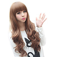 High Quality Synthetic Full Bangs Capless lange lockige Haare Perücke (Light Golden Brown)