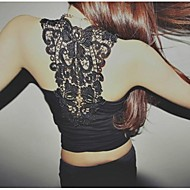 T-shirt sem mangas da Mulher Sexy Backless Lace Bodycon