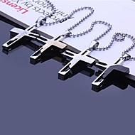 תכשיטים מעוטר בחריתה שרשרת תליון צלב פלדה אל חלד מתנה אישית בצורת עם 60cm שרשרת (צבעים שונים)