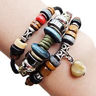 Ethnische Perlen 24cm Frauen Brown Leather Wrap Armband (1 St.)