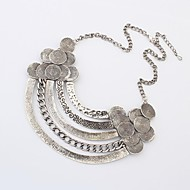Ethnic Style Punk Five Layers Plated Alloy Chain Statement Necklace (Siver and Bronze) (1 pc)