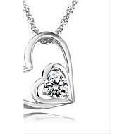 Vintage Heart Shape Silvery Alloy Women's Necklace(1 Pc)(Purple,White)