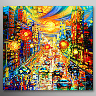 IARTS®Hand Painted Oil Painting Landscape Modern Car Street with Stretched Frame Ready to Hang