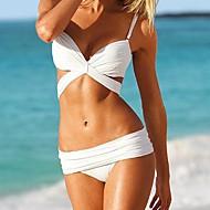 kvinders sexede ensfarvet kryds og tværs push up bikini