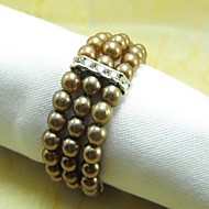 Mnoho barev Pearl Crystal ubrousek Ring, Pearl, Crystal, 4,5 cm, sada 12,